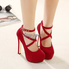 Sexy Womens Faux Suede Platform Pumps Stiletto Prom Party Shoes High Heels Size8