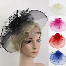 Stylistic Flower Dot Feather Mesh Fascinator Hat on Clip Veil Net Hair Accessory