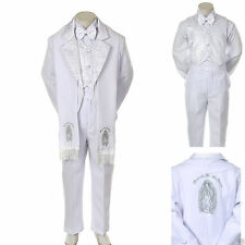 Baby Boy Christening Baptism/scarf Suit/6 pcs/ Size: S to 7>Silver Virgin Marry