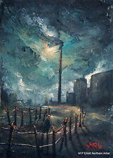 MP Elliott Northern Art ORIGINAL PAINTING Industrial Landscape Town City Old Man