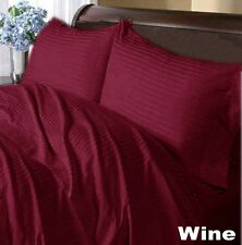WINE STRIPED 1000TC 100% COTTON FITTED/SHEET SETS SCALA ALL SIZE & DEEP POCKET