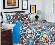 Teen Peace Sign Quilt Set Bold Vibrant Brown Blues Plaid Pattern Fun Bedding Boy