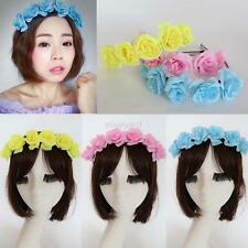 Nice Women Flower Garland Floral Headband Hairband Prom Wedding Hair Accessories