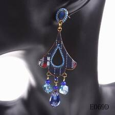 2016 new popular crystal women colorful pendant fashion design hanging earrings