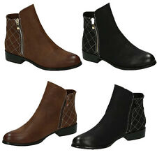 NEW WOMENS LADIES FLAT LOW HEEL ZIP UP CHELSEA ANKLE BOOTS SHOES SIZE 3-8