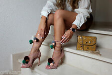 ZARA LEATHER HIGH HEEL SANDALS WITH POMPOMS REF 6614/101 AW16 BLOGGERS FAVORITE
