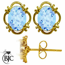 BJC® 9ct Yellow Gold Natural Blue Topaz Single Stud Earrings Studs 1.50ct