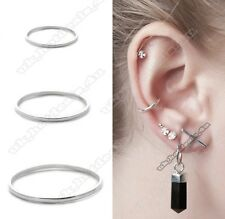 Thin Small Cartilage Forward Helix Nose Ring Hoop 0.6mm Piercing Silver Stud