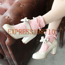 Sweet Womens college Lolita Bowknot Block Heels Mary Janes Pumps Strappy Shoes
