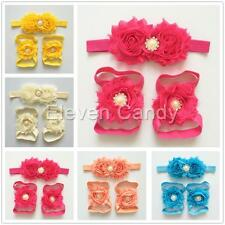 Kid Wrist Headband Pearl Barefoot Sandal Foot Flower 3PCS Baby Hair Band Girl