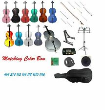 Cello,Colorful Bow,Bag+Strings+Bridge+Tuner+2 Stands+Rosin+Mute+End Pin Stopper