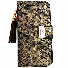 Snake Skin GOLD PU Leather Flip Wallet Purse Case Card Holder iPhone 6 6S Plus