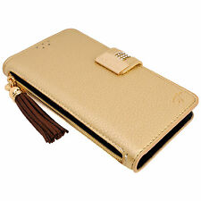 Womens GOLD Leather Flip Wallet Purse Case Credit Card Holder iPhone 6 6S Plus