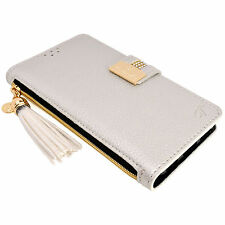 Womens SILVER Leather Flip Wallet Purse Case Credit Card Holder iPhone 6 6S Plus