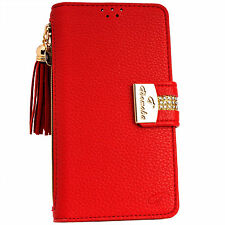 Luxury RED PU Leather Flip Wallet Purse Case Card Holder for iPhone 6 6S Plus 6+