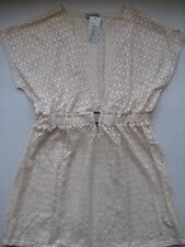 NWT J VALDI Lacy Eyelet Elastic Waist Beach Swim Suit Cover Up Ivory