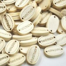 "100/50Pcs 19MM ""Handmade"" Beauty Wood Buttons 2 Holes Sewing Crafts Fashion New"