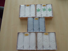 3 LADIES IRISH LINEN HANDKERCHIEFS - BOXED - 5 DESIGNS
