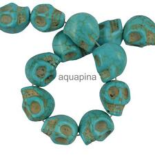 Halloween Turquoise Carved Skull Heads Jewelry Making Spacer Beads Blue