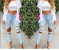 Sexy Women Denim Skinny Pants High Waist Hole Stretch Trousers Slim Pencil Jeans