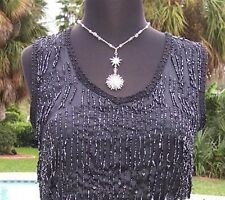CHICO'S Chicos 0 $128 BEADED FLAPPER Top  NWT XS/S FRINGE LINED EVENT