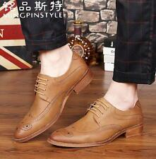 Men's brogues carved leather England pointed toe Oxfords Dress shoes wing tipNEW