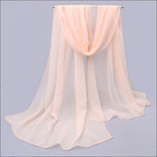 Solid Color Women Long Soft Scarf Wraps Chiffon Voile Summer Beach Scarves Shawl