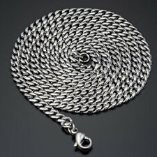 Mens Chain  Silver Tone Curb Link Stainless Steel Necklace 16-36 inch 5MM Gifts