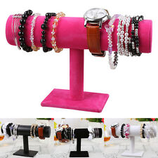 Trendy T-Bar Bracelet Chain Watch Jewelry Hard Display Stand Holder Velvet Hot