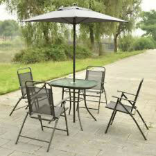 6PCS Patio Garden Set Furniture 4 Folding Chairs Table Umbrella Gray Costway New