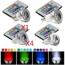 4x E27 E14 GU10 MR16 3W RGB LED Light Bulb 16 Color Changing Remote Control Lamp