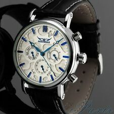 JARAGAR Analog Wrist Watch 6 Hands Day Date Leather Band Automatic Mechanical