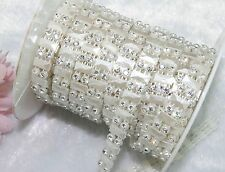 9mm Ivory Pearl Rhinestone Chain Trims Sewing Crafts Costume Applique LZ27