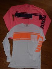 "VICTORIAS SECRET PINK NEW CAMPUS ""PINK"" LG SLEEVE POCKET SCOOPNECK TEESHIRT NWT"