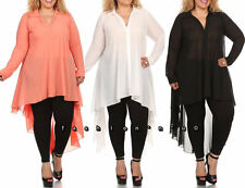 Plus Size Hi Low Long Swing Shirt Chiffon Tunic Blouse Dress Top