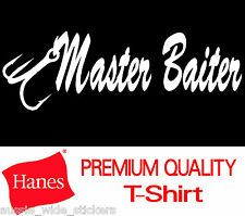 Funny MASTER BAIT Marine Fishing Boat Wear T Shirt Mens 100% Cotton HANES Brand