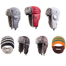 Mens Winter Warm Trapper Hat with Faux Fur Ski Snowboarding Hat Bearded Hat