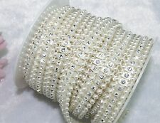 14mm Ivory Pearl Rhinestone Chain Trims Sewing Crafts Costume Applique LZ23