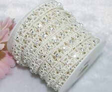 14mm Ivory Pearl Rhinestone Chain Trims Sewing Crafts Costume Applique LZ21