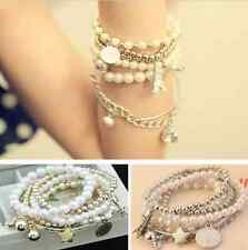 Multilayer Pearl Beads Gold Metal Eiffel Tower Pendant Chain Bangle Bracelet