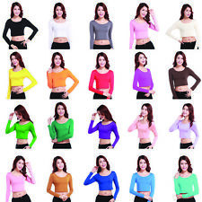 New Womens Clothes Short T Shirt Blouse Crop Top Crew Neck Long Sleeve Tights