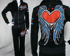 AFFLICTION Sinful women's SUPERFLY Velour pants or Hoodie jacket heart wings