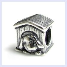 925 Sterling Silver Puppy Laying in Doghouse Bead for European Charm Bracelet