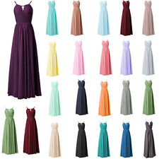 Long Halter Formal Wedding Evening Party Ball Gown Prom Bridesmaid Dresses 6-20