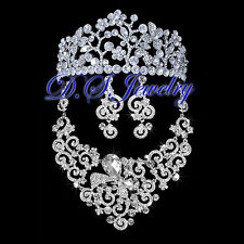 Carved Flower Clear Swarovski Crystal Rhinestone Neklace & Earring & Crown/Tiara