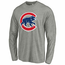 Chicago Cubs Ash Primary Logo Long Sleeve Tri-Blend T-Shirt
