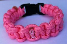 1 BREAST CANCER AWARENESS PARACORD 550 SURVIVAL BRACELET HANDMADE PINK W/ CHARM