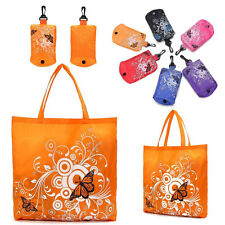 New Reusable Eco Shopper Folding Shopping Shoudler Bags Tote In Pouch Clips