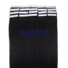 """New 16""""18""""20""""22""""24""""PU Seamles Skin Tape-in Remy Human Hair Extensions Jet Black"""