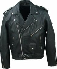 MOTORCYCLE LEATHER JACKET MEN BRANDO GENIUNE COWHIDE, SIZES XS TO 5XL